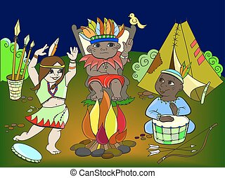 Indian tribe in the form of three children vector for adults
