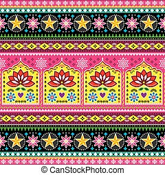 Indian truck art floral seamless folk art pattern, Pakistani Jingle trucks vector design,  vivid ornament with lotus flowers and abstract shapes