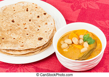 Indian Vegetable Curry and Chapati - Homemade chapati (...