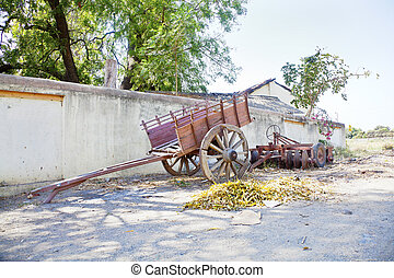 Indian Village bullock Cart machinery - Landscape at the...