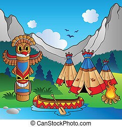 Indian village with totem and canoe - vector illustration.