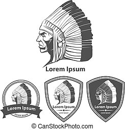 indian warrior head profile logo