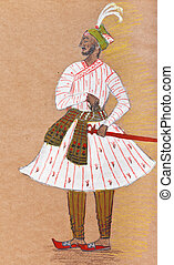 Indian warrior in traditional dress - historical clothes -...