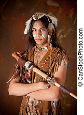Indian warrior - Portrait of an Indian in traditional...