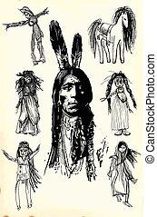 Indian Warrior, Sitting Bull portrait - Freehand sketch, vector