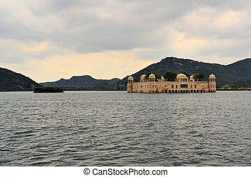 Indian water palace on Jal Mahal lake, Jaipur, India