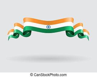 Indian wavy flag. Vector illustration.