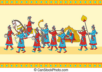 Indian wedding baraat ceremony in vector