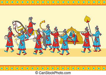 Indian wedding baraat ceremony in vector