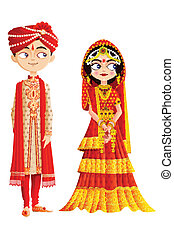 Indian Wedding Couple - easy to edit vector illustration of...