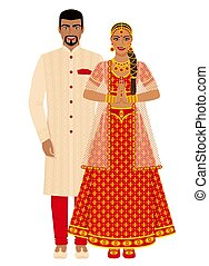 Indian wedding couple in traditional costumes. Vector ...