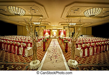 Image of a colorful Indian wedding mandap