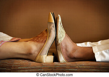 Indian Wedding Shoes - Image of Indian bride and groom's...