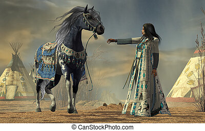 Indian White Cloud - White Cloud tries to calm her horse in...