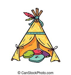 Indian wigwam for kids room, bright vector children illustration of colorful teepee and pillows inside isolated on white