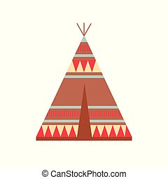 Indian Wigwam with Ornamental Elements. Ethnic Tribal Teepee. Boho style