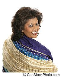 Indian Woman Colorful Shawl - A beautiful Indian woman in a...