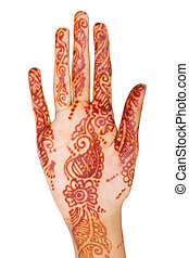 indian woman hand with henna