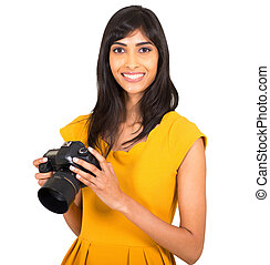 indian woman holding a camera