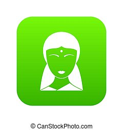 Indian woman icon digital green