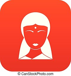 Indian woman icon digital red