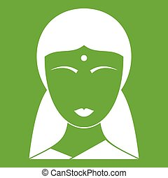 Indian woman icon green