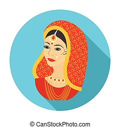 Indian woman icon in flat style isolated on white background. India symbol stock vector illustration.