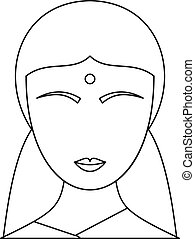 Indian woman icon, outline style
