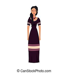 6f012847dc Woman in indian national clothes dance vector. Woman in indian ...