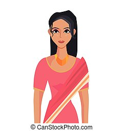 dfd2d1a5c8 Woman in indian national clothes dance vector. Woman in indian ...