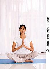 indian woman meditating
