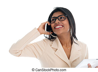 Indian woman on the phone.