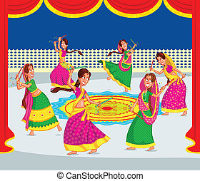 Indian woman performing Dandiya