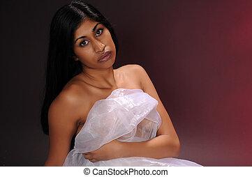 Indian woman - Beautiful young Indian woman draped in sheer...