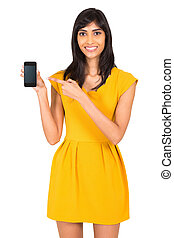 indian woman pointing at smart phone - happy indian woman...