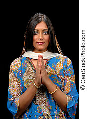 Indian Woman Showing Gratitude. - Indian Woman showing...
