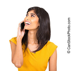 indian woman talking on cell phone - cheerful indian woman...