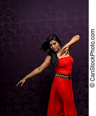 Indian Woman Wearing Beautiful Flowing Sleeveless Dress