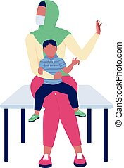 Indian woman with child rejecting vaccine flat color vector faceless characters. Anti vax, no vaccine for baby. Health care isolated cartoon illustration for web graphic design and animation