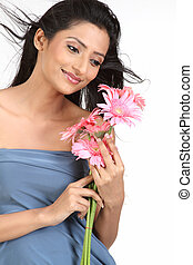 Indian woman with daisy flowers