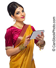 Indian woman with tablet PC