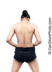 Indian Woman's back with bowed head - Young indian woman...