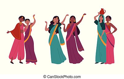 Indian women in traditional national sari clothes.