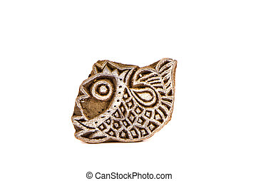 Indian wood carving printing block stamp for textile design....