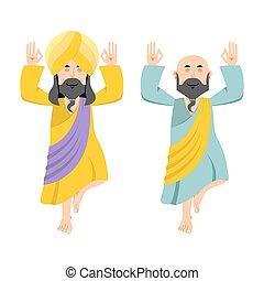 Indian yogi meditates. Two people practicing yoga. Meditation on one leg. Man in Nirvana