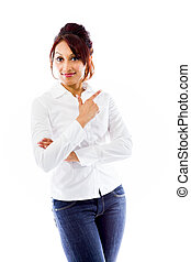Indian young woman pointing backwards - Adult indian woman...