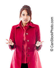 Indian young woman with shocked expression isolated on a white background