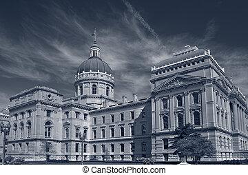 indiana, capitool, de bouw.