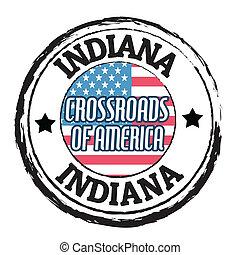Indiana, Crossroads of America stamp