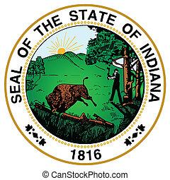 indiana, estado, sello